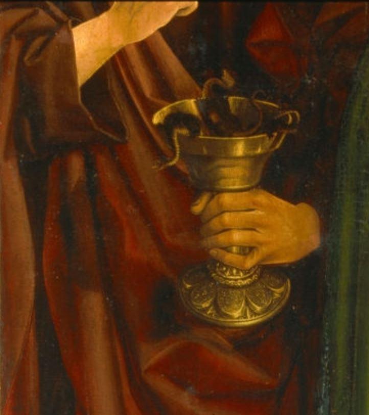 froment-triptyque-buisson-ardent -1476 _Aix-en-Provence,_Church_Saint-Sauveur volet-droit detail saint Jean
