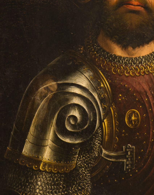 froment-triptyque-buisson-ardent -1476 volet gauche detail saint Maurice