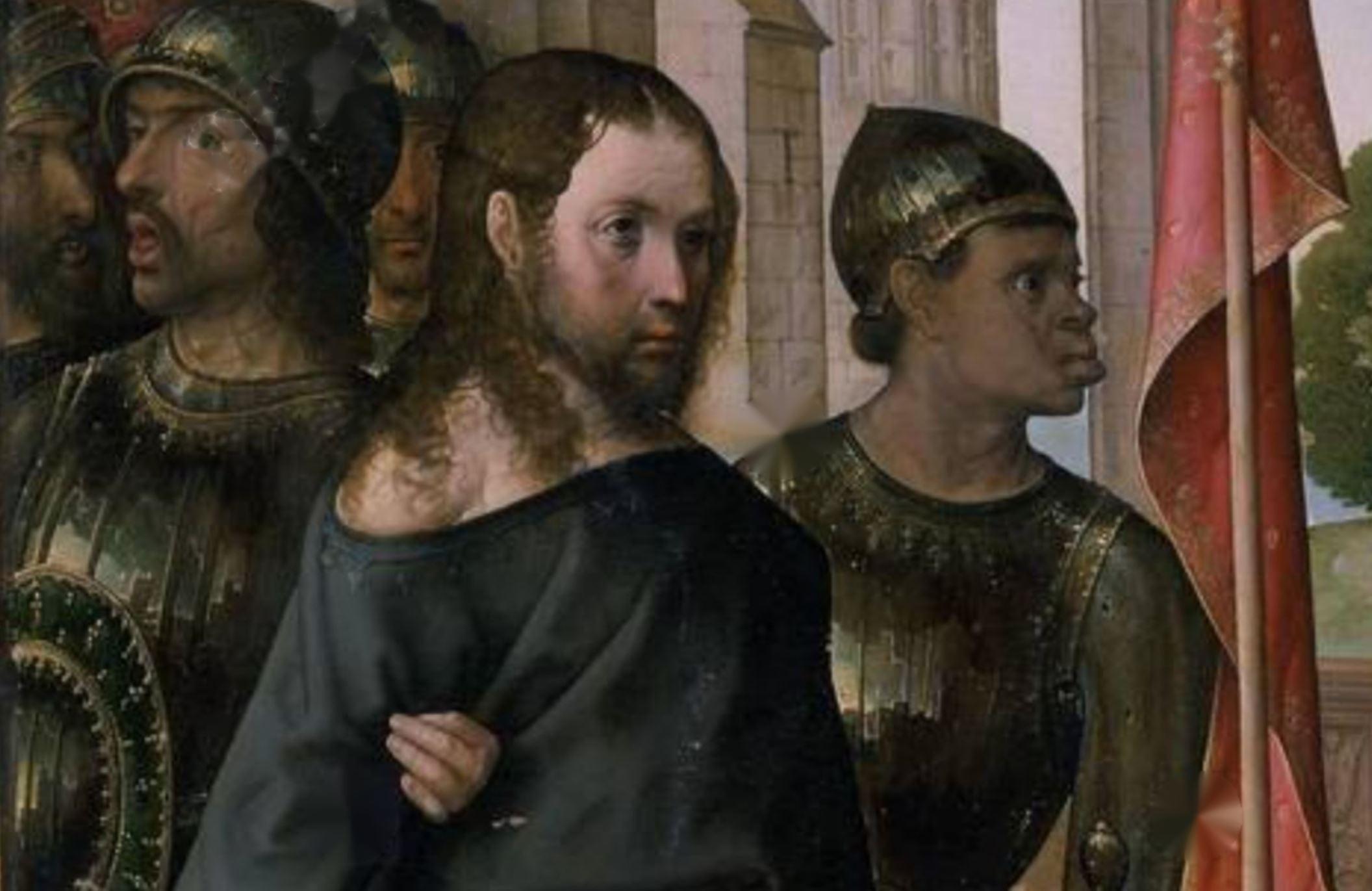 juan de Flandes 1509 Le Christ devant Pilate RETABLO MAYOR DE LA CATEDRAL DE PALENCIA detail