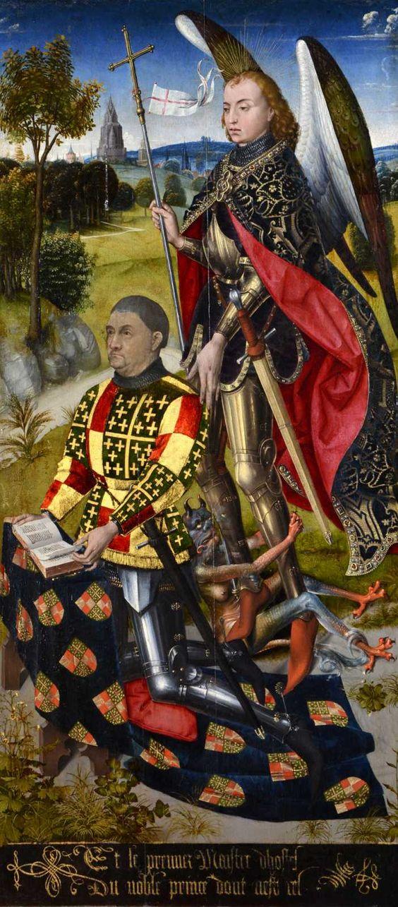 van der Weyden 1466. Retable d'Ambierle (panneau droit) M. de Chaugy with St. Michael,