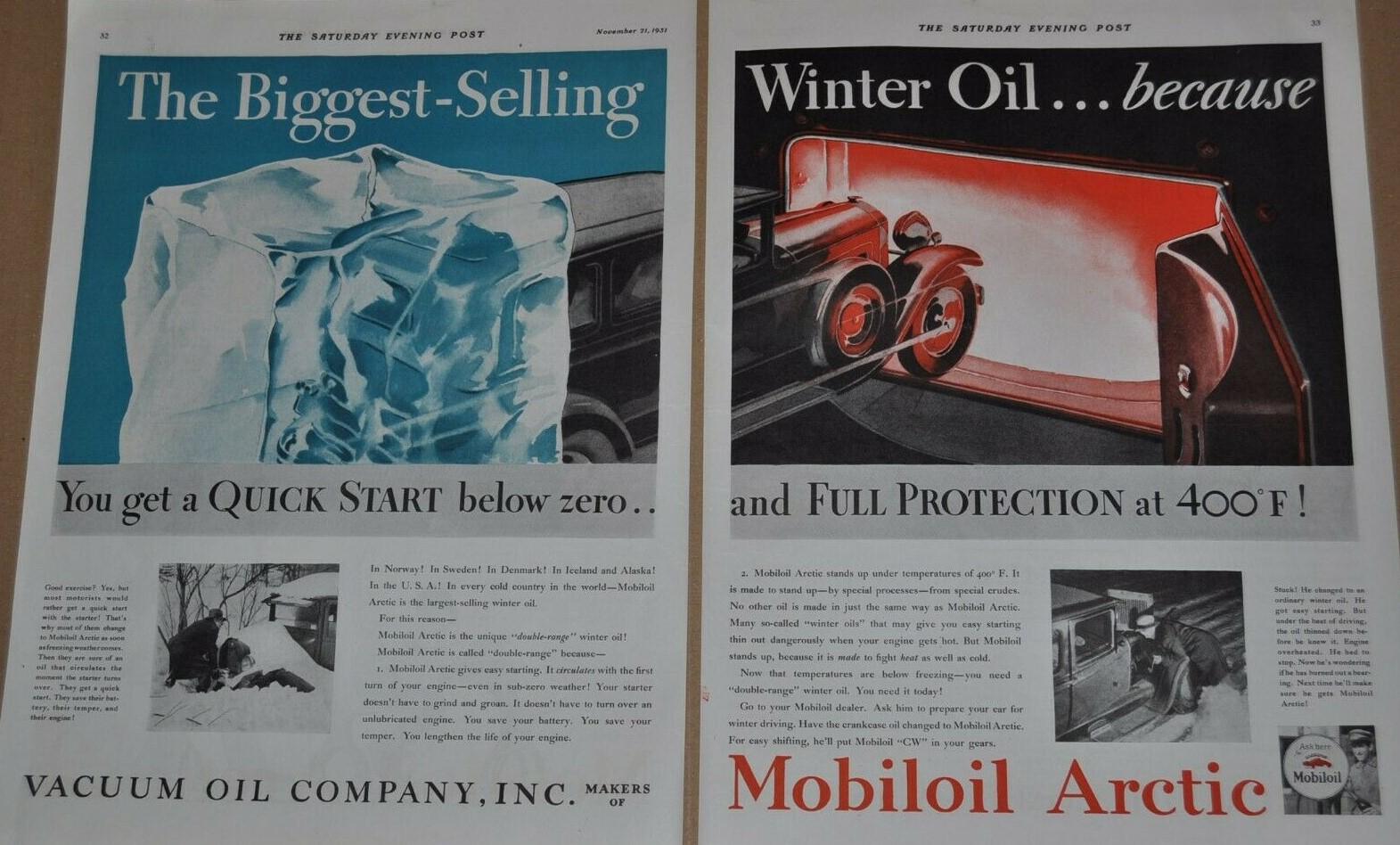 1931 MOBILOIL ARCTIC OIL
