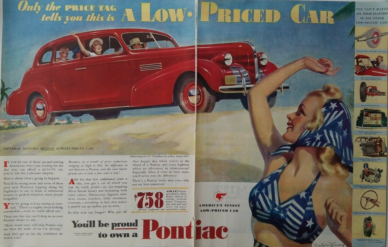 1939 red Pontiac four-door sedan car Bradshaw Crandell art