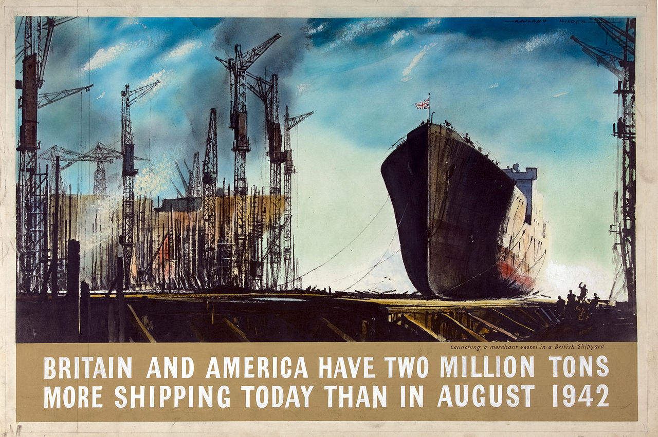 1944 Britain and America have two million tons more shipping today than in August 1942 Rowland Hilder (50 x 75.5 cm)
