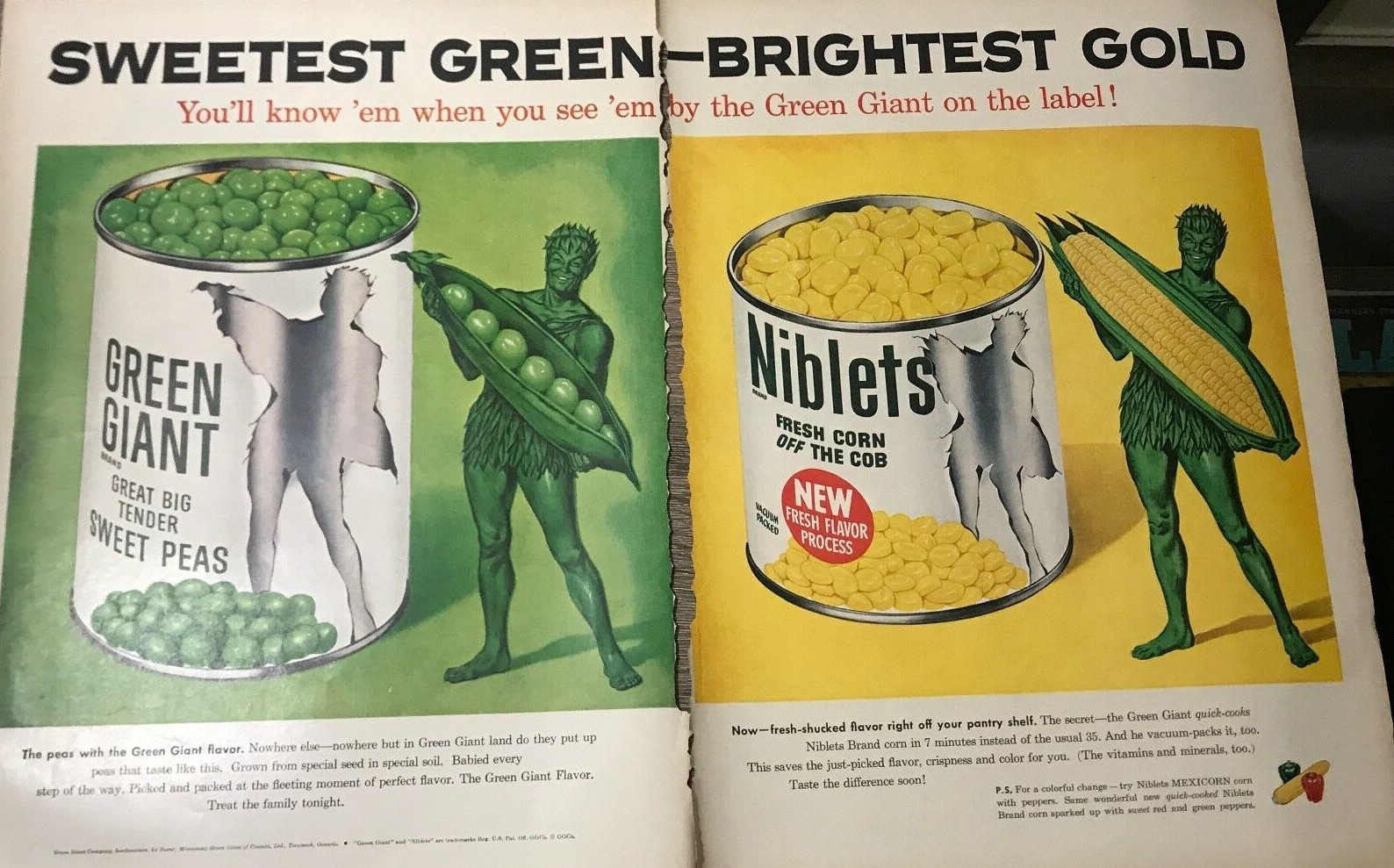 1950 LIFE MAGAZINE GREEN GIANT SWEETEST GREEN