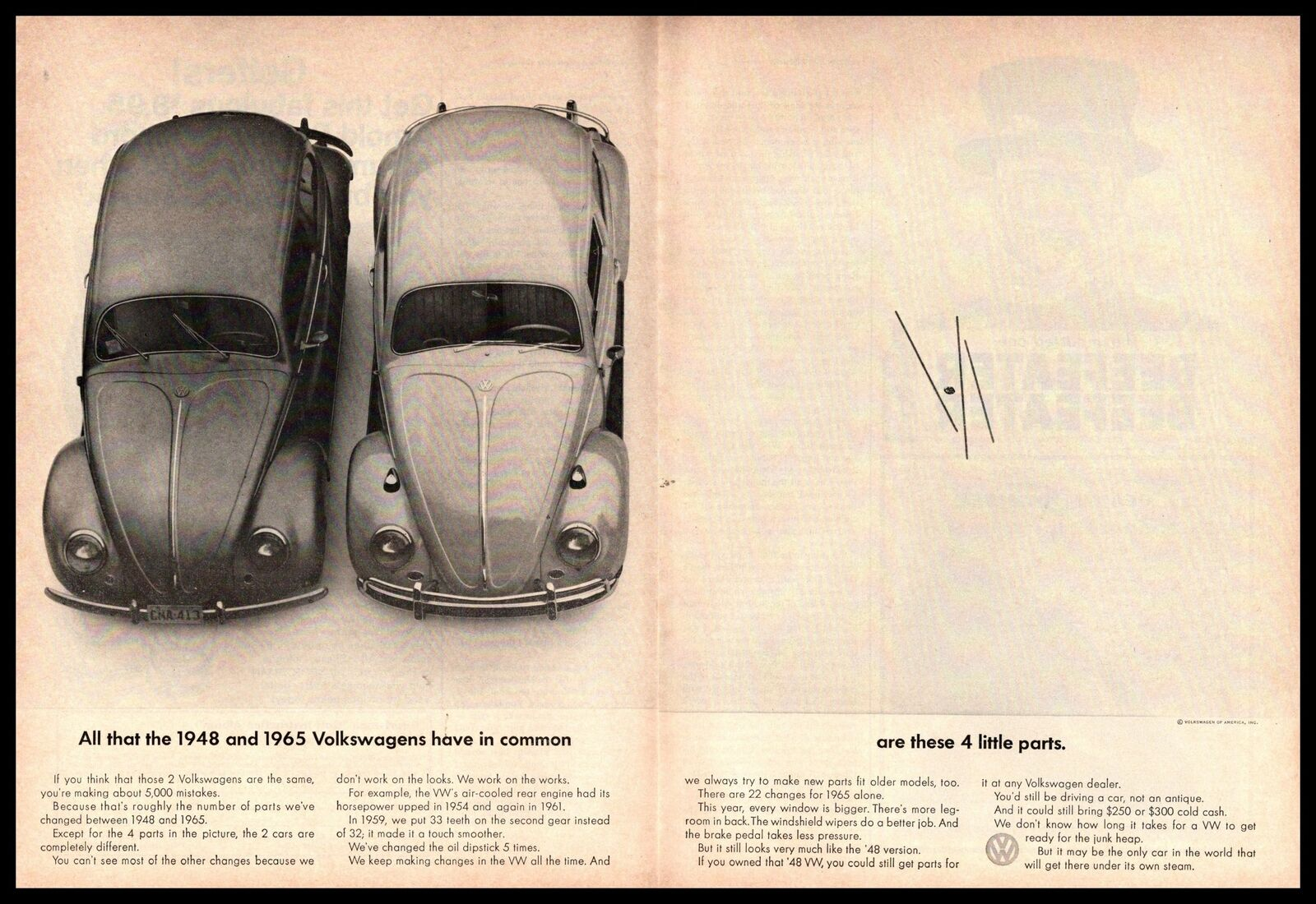1965 VW Type 1 Beetle And 1948 VW Bug 4 LIttle Parts