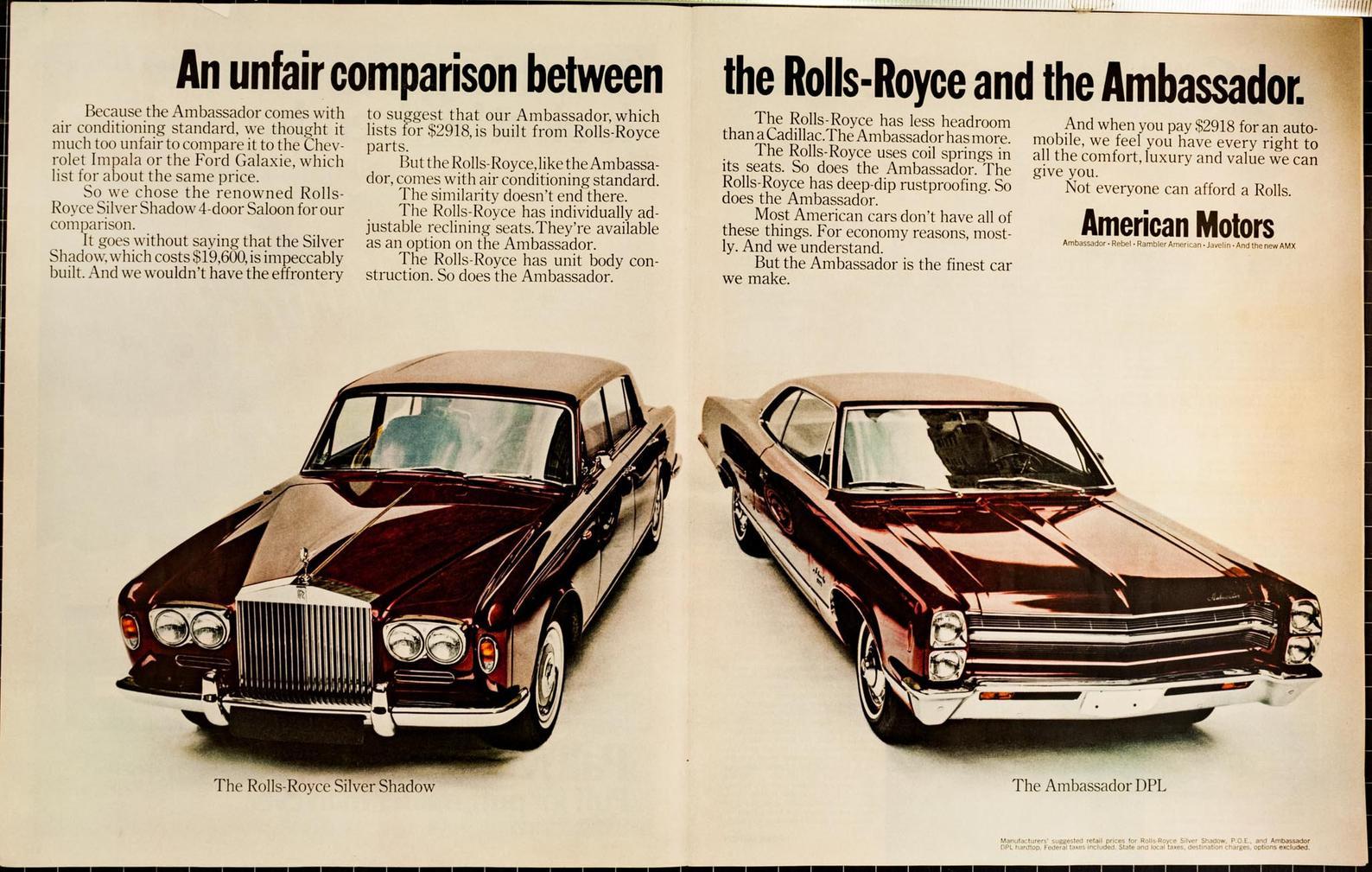1968 AMC Ambassador vs Rolls-Royce Silver Shadow