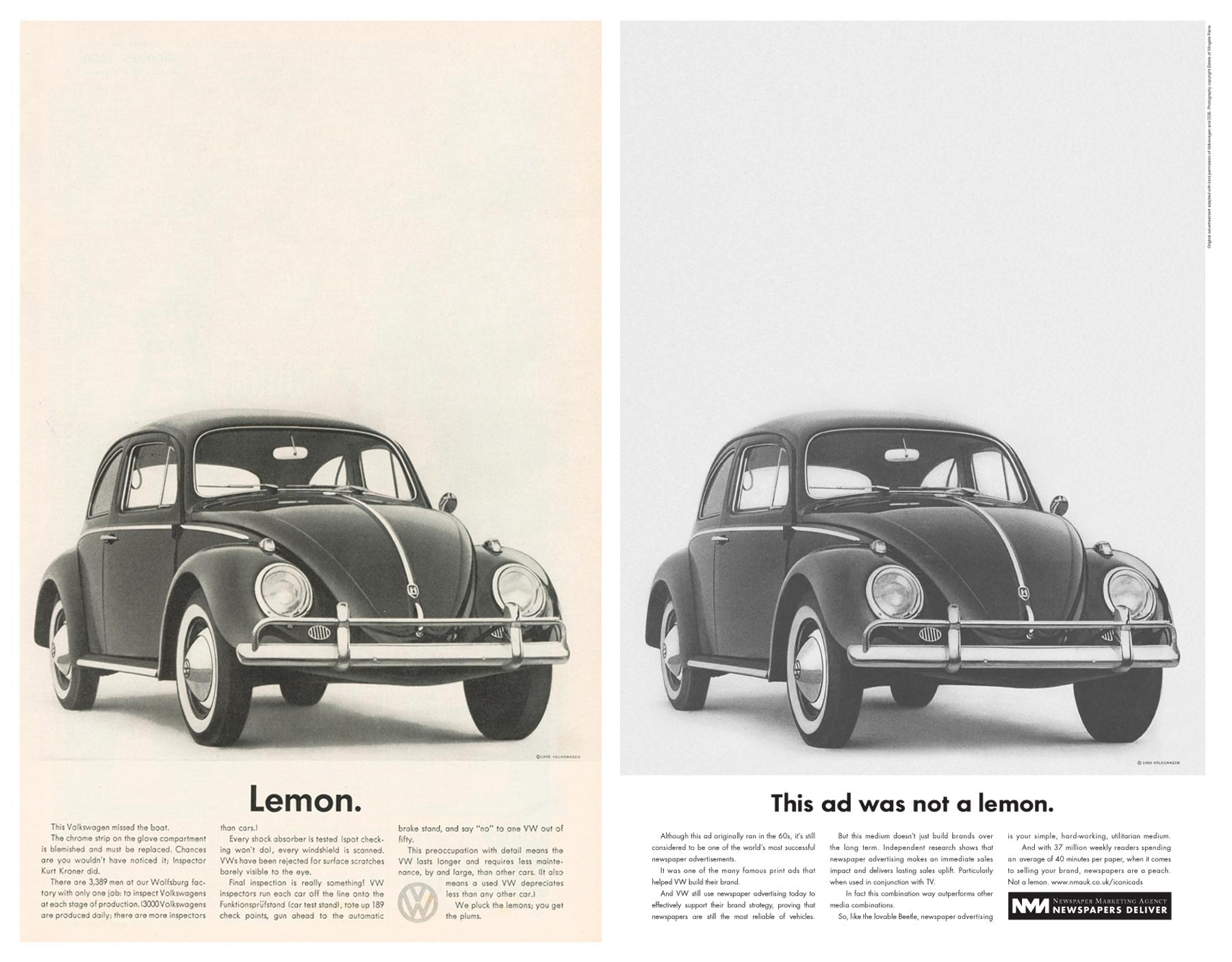 2008 Newpaper marketing agency volkswagen-lemon-advert1