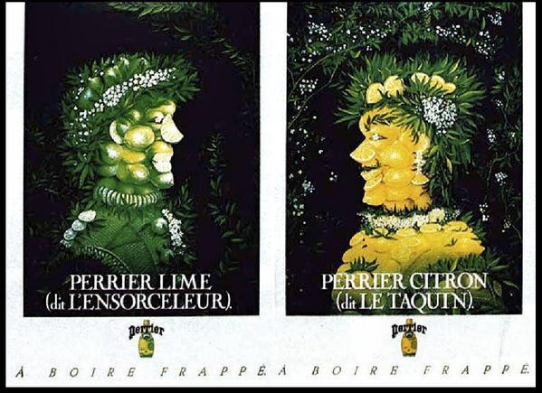 Perrier lime (dit l'Ensorceleur) et Perrier citron (dit le Taquin) 1989