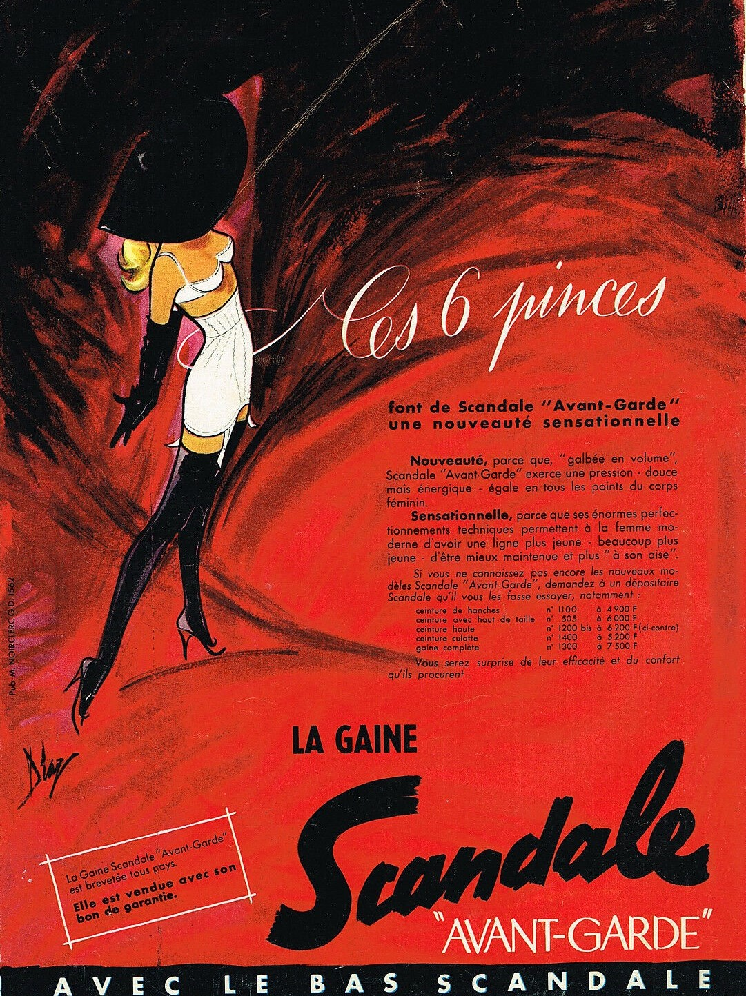 SCANDALE 1956 Diaz la gaine avant- garde B1 Ces six pinces