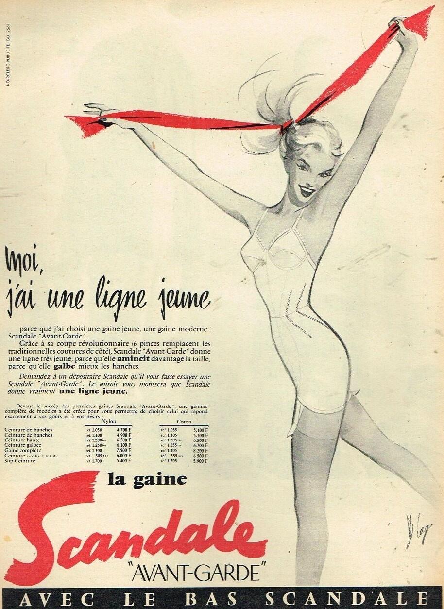 SCANDALE 1956 Diaz la gaine avant-garde C4 Moi j'ai une ligne jeune