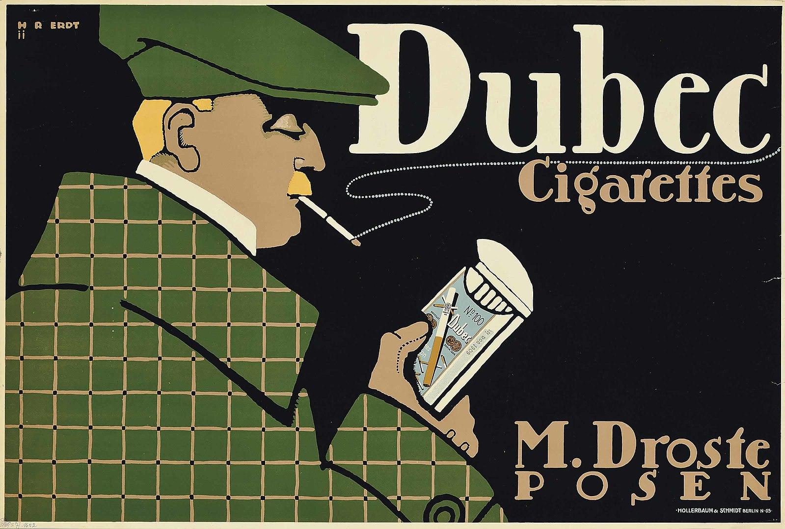 1910 ca cigarettes Dubec, M. Droste, Posen, affiche Hans Rudi Erdt ,