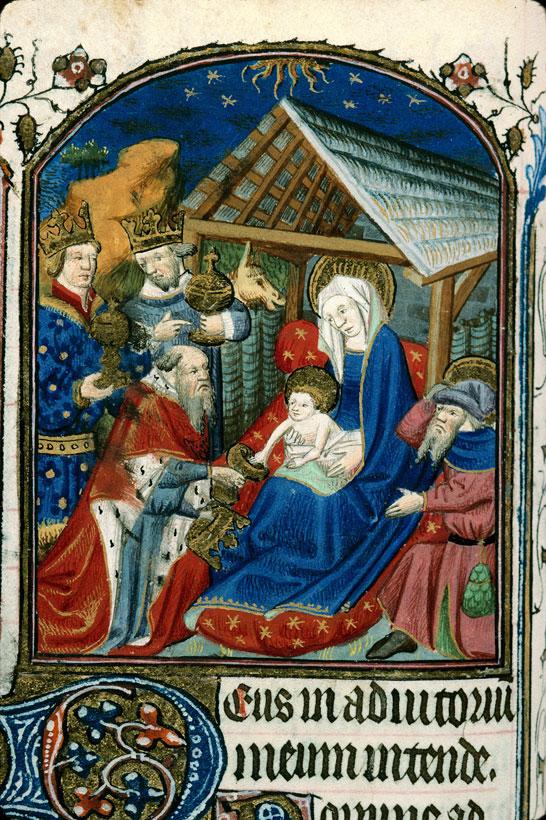 Adoration des Mages 1425-50, Heures a l'usage de Paris Carpentras BM ms 0049 f071v