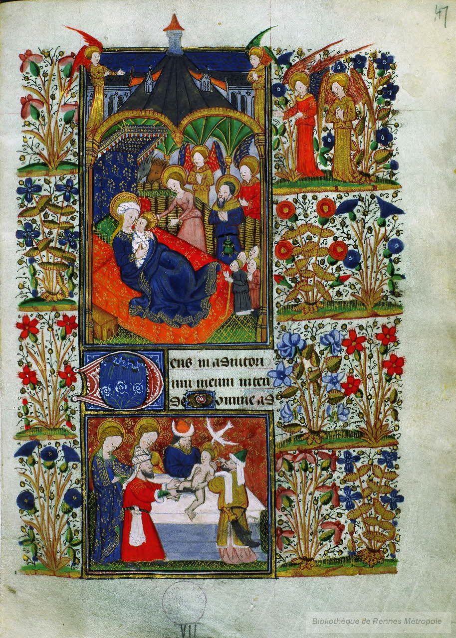 Adoration des bergers 1430-40 Livre d'Heures de Jean de Montauban, ,BM Rennes MS1834 fol 47
