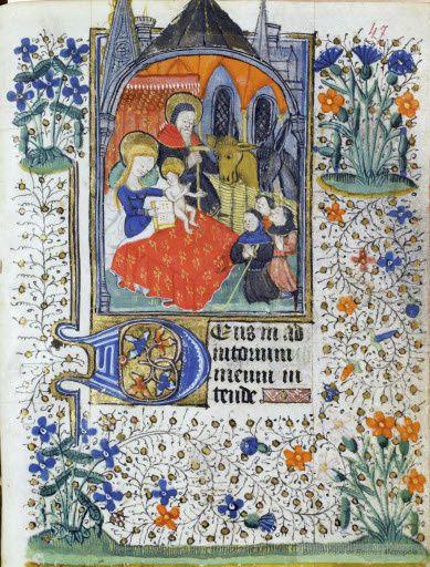 Adoration des bergers, Debut du XVe, Bretagne BM Rennes MS0029 Fol 47