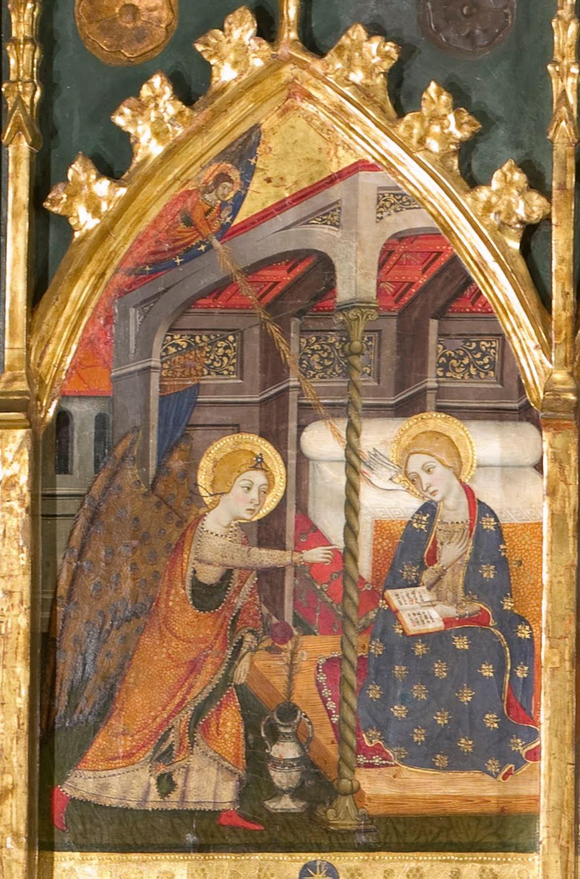 Annonciation 1367-1381 Jaume Serra Sigena altarpiece Museu Nacional d'Art de Catalunya
