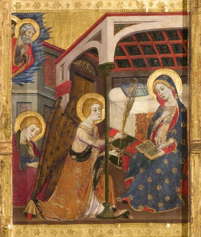 Annonciation 1367-1381 Jaume Serra Sigena altarpiece (de la mort) Museu Nacional d'Art de Catalunya