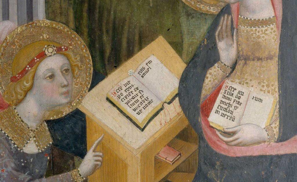 Annonciation-1404-Pere-Serra-Pinacoteca-di-Brera-Milan-detail-livres