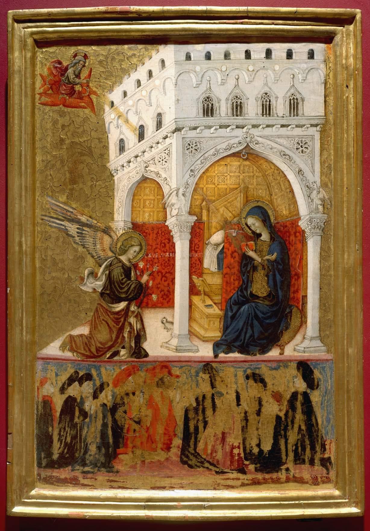 Annonciation 1435-40 ca Giovanni di Tommasino Crivelli Priori delle arti di perugia e il loro notaio Musée Jacquemart-Andre