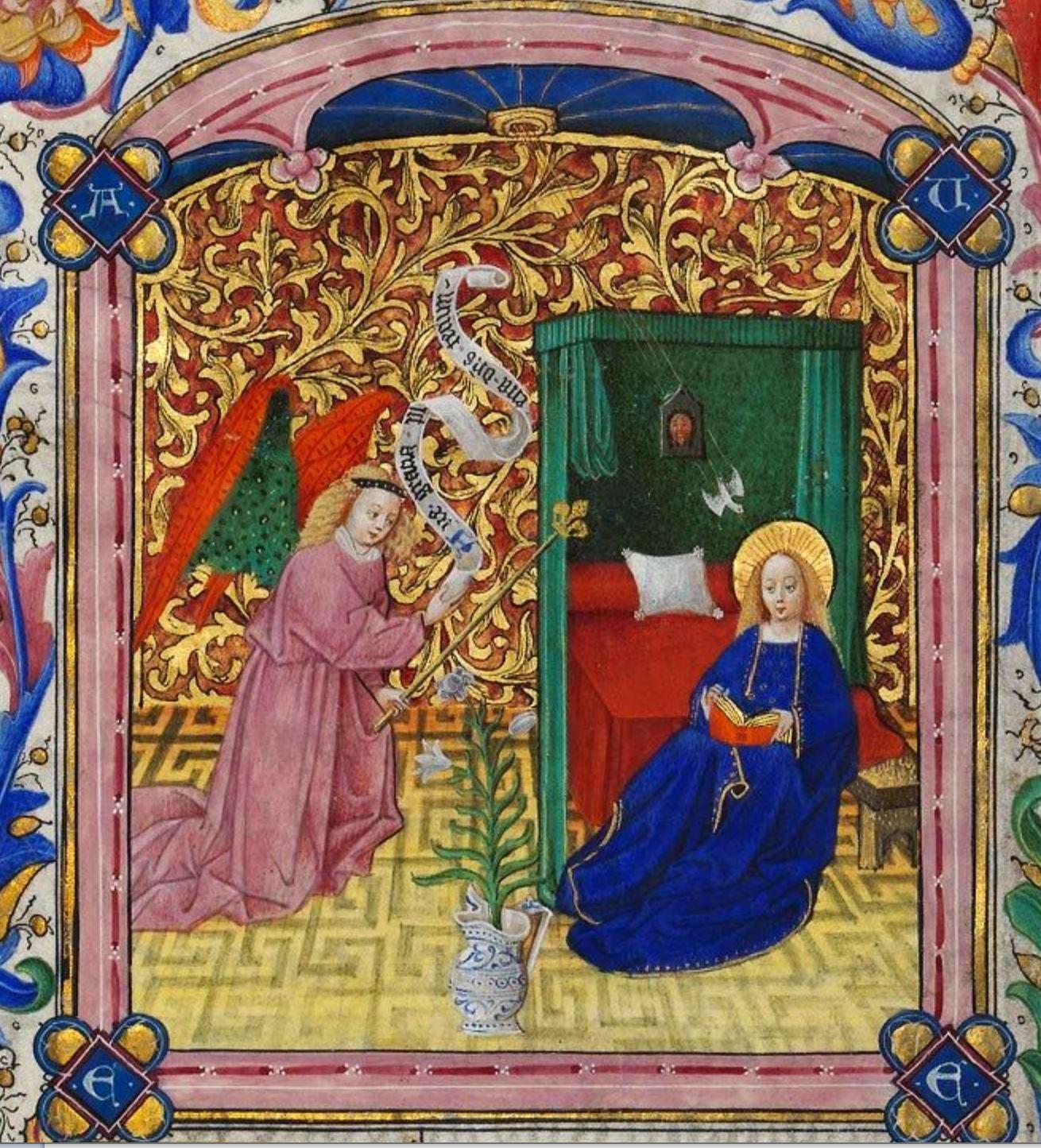 Annonciation 1440 ca Livre d'heures a l'usage de Rome Les Maitres aux rinceaux d'or BNF MS NAL 3110, f. 13
