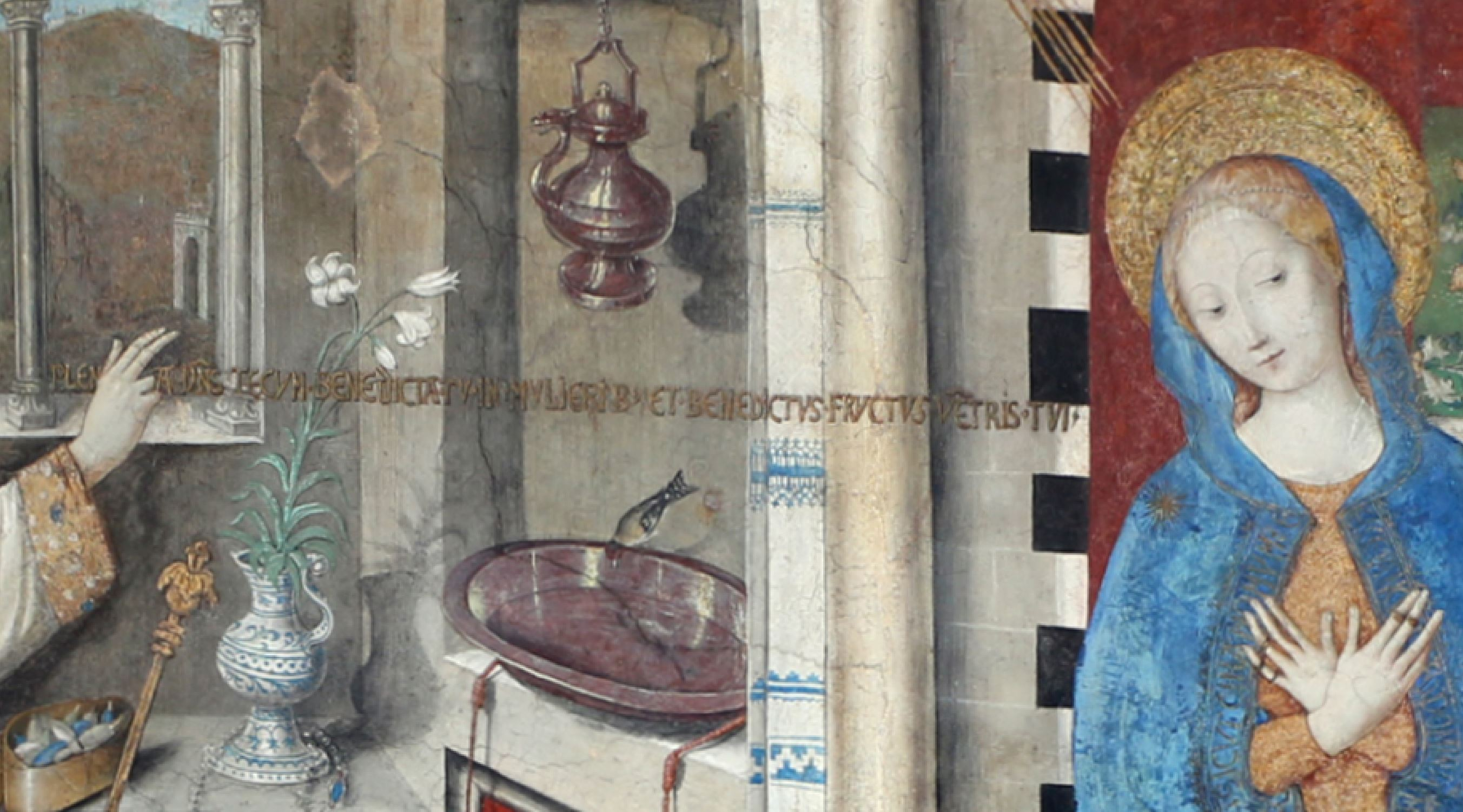Annonciation 1451 Giusto d'AlemagnaSanta Maria di Castello Genes detail
