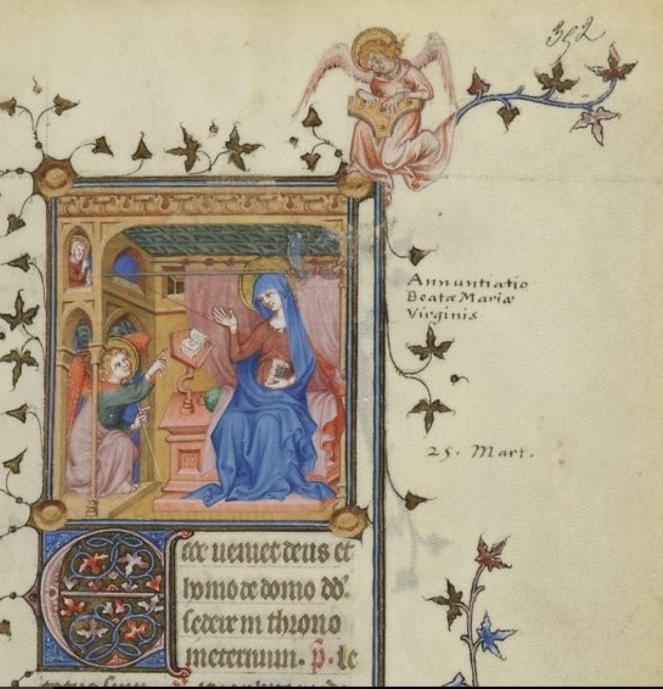 Annonciation Jean le Noir, 1340-80, Breviaire de Charles V BNF Lat 1052 fol 352r gallica
