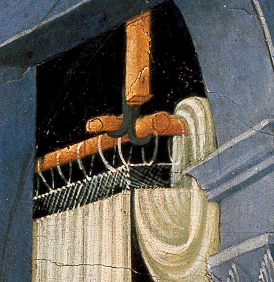 Anonyme florentin, 1420-30, Annonciation, Ashmolean Museum, Oxford detail rideau