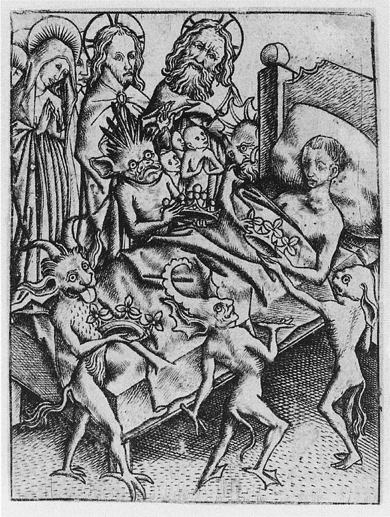 Ars_moriendi_Tentation de l'Orgueil vers 1450 (Meister_E.S)