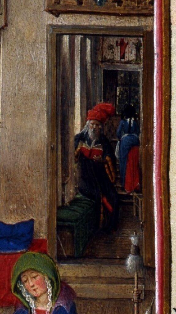 Birth of Saint John the Baptist, fol. 93v, from the Turin-Milan Hours, ca. 1445–52. Turin escalier