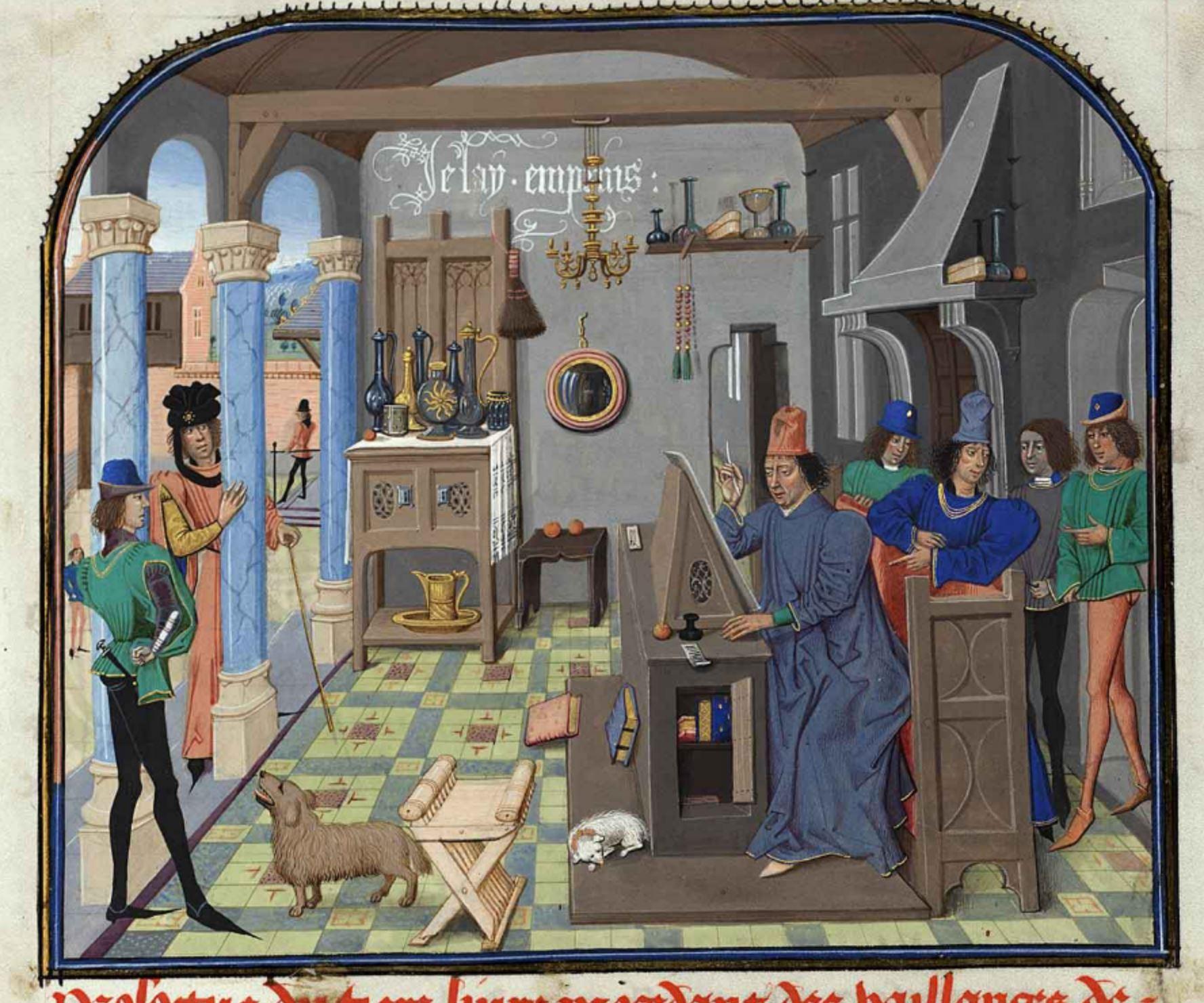 Loyset Liedet avant 1472 Charles le Temeraire surprenant David Aubert en train de calligraphier Histoire de Charles Martel, Bruxelles, Bibliotheque royale, ms. 8, fol. 7