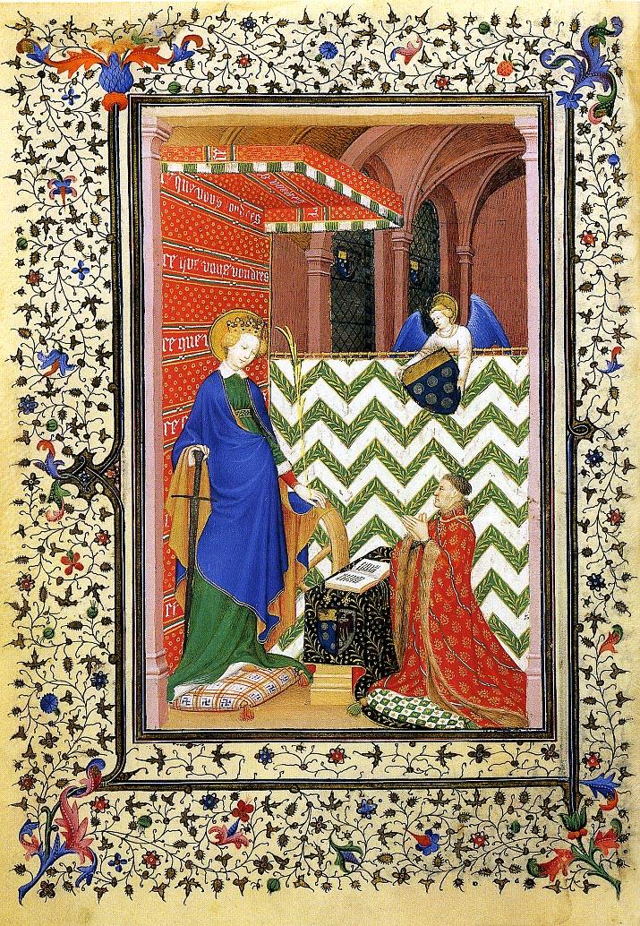 Marechal de Boucicaut devant Ste Catherine 1408 Heures_de_Boucicaut f36v musee Jacquemart-Andre