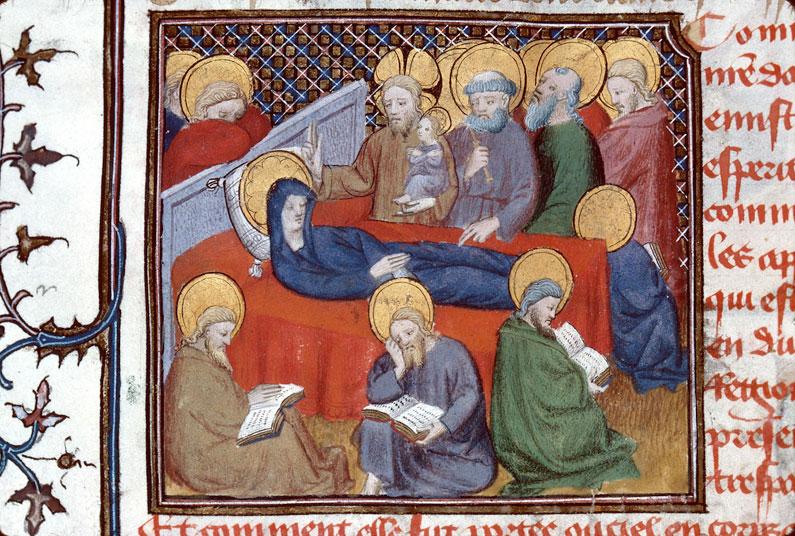 Mort de Marie 1400-25 Maitre d'Egerton Roman de Dieu et de sa mere Besancon, BM, 0550 fol 88v