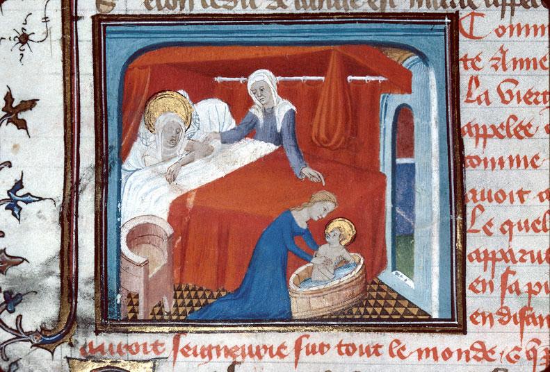 Naissance de Marie 1400-25 Maitre d'Egerton Roman de Dieu et de sa mere Besancon, BM, 0550 fol 054v
