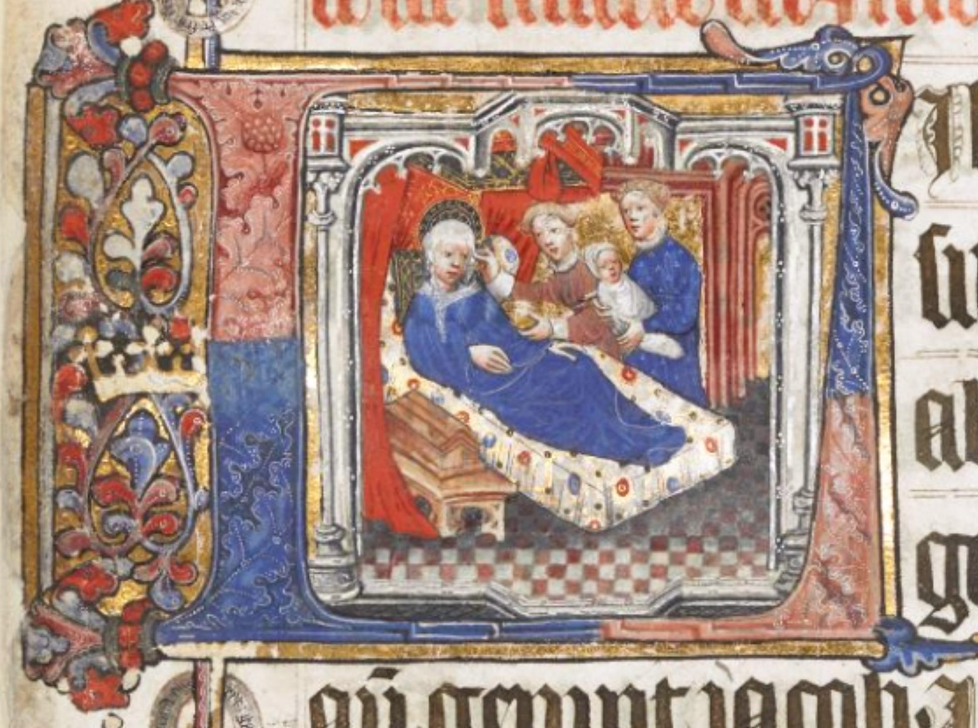 Naissance de Saint Jean Baptiste Lovell Lectionary 1400-10 BL Harley 7026 fol 17r detail