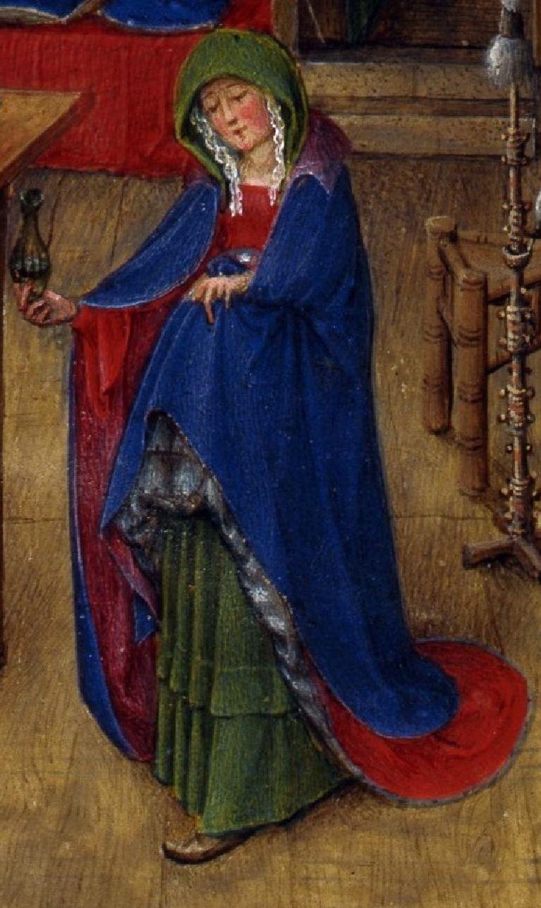 Naissance de Saint Jean Baptiste, fol. 93v, from the Turin-Milan Hours, ca. 1445–52. Turin Marie seule