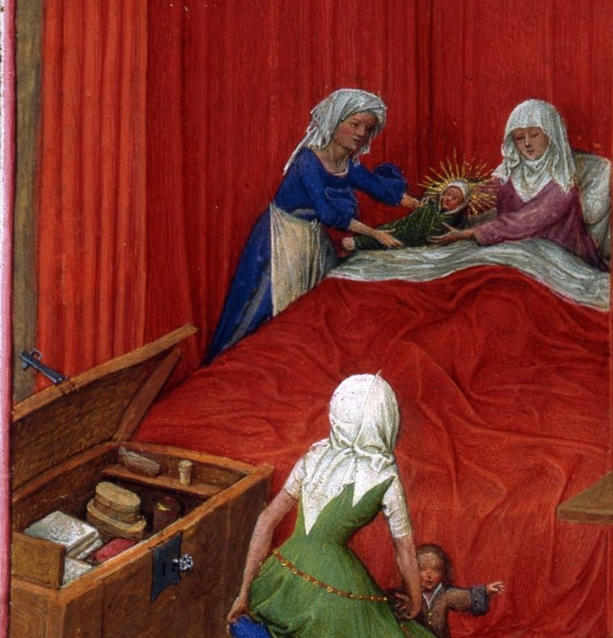 Naissance de Saint Jean Baptiste, fol. 93v, from the Turin-Milan Hours, ca. 1445–52. Turin detail enfant