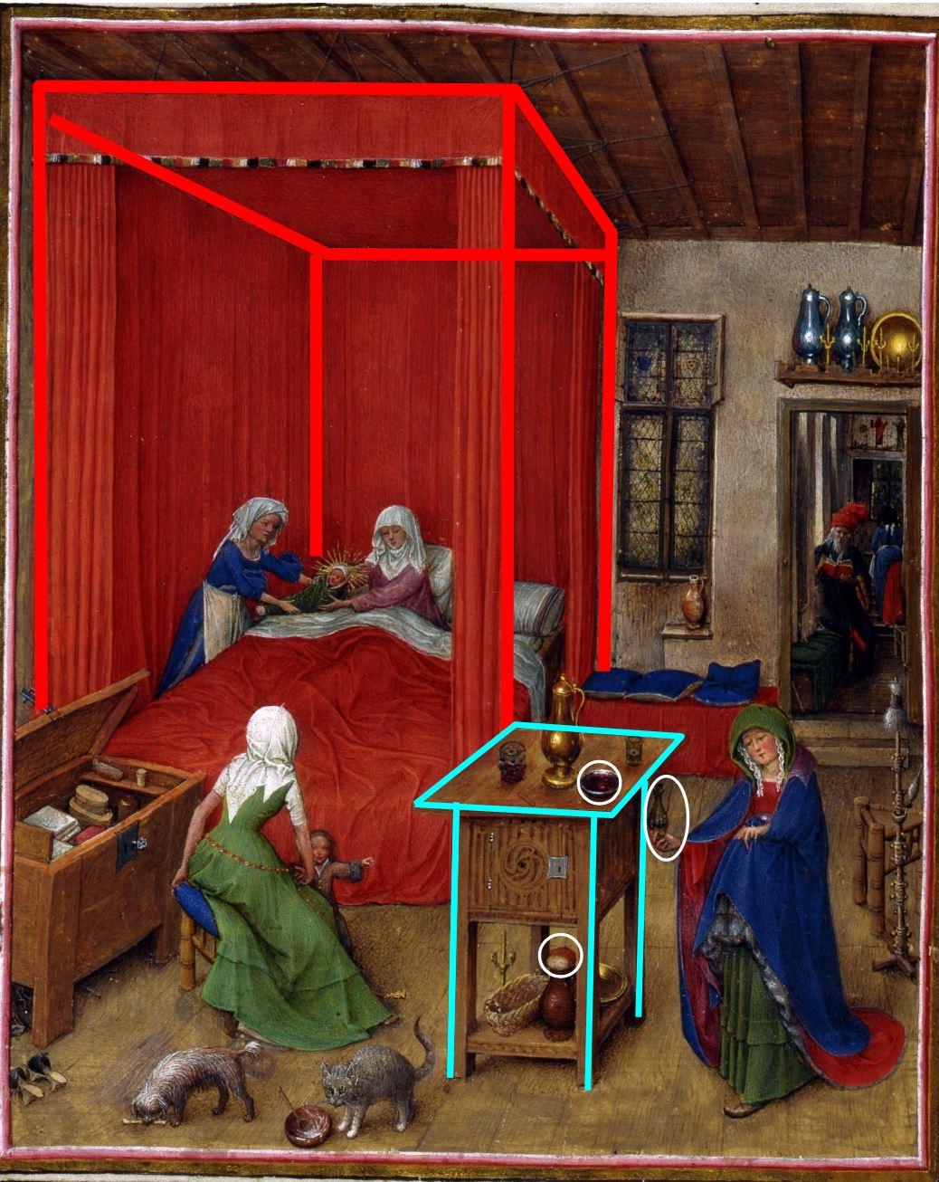 Naissance de Saint Jean Baptiste, fol. 93v, from the Turin-Milan Hours, ca. 1445–52. Turin schema