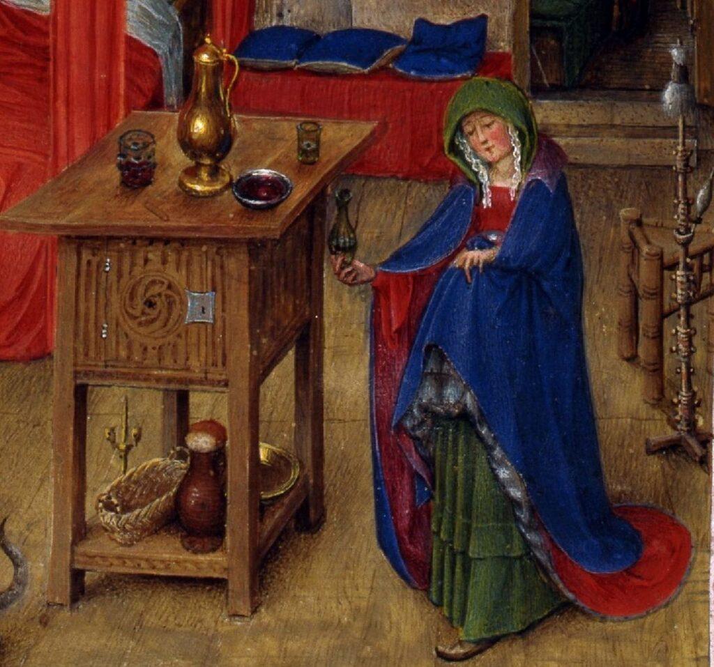 Naissance de Saint Jean Baptiste, fol. 93v, from the Turin-Milan Hours, ca. 1445–52. Turin zone Marie