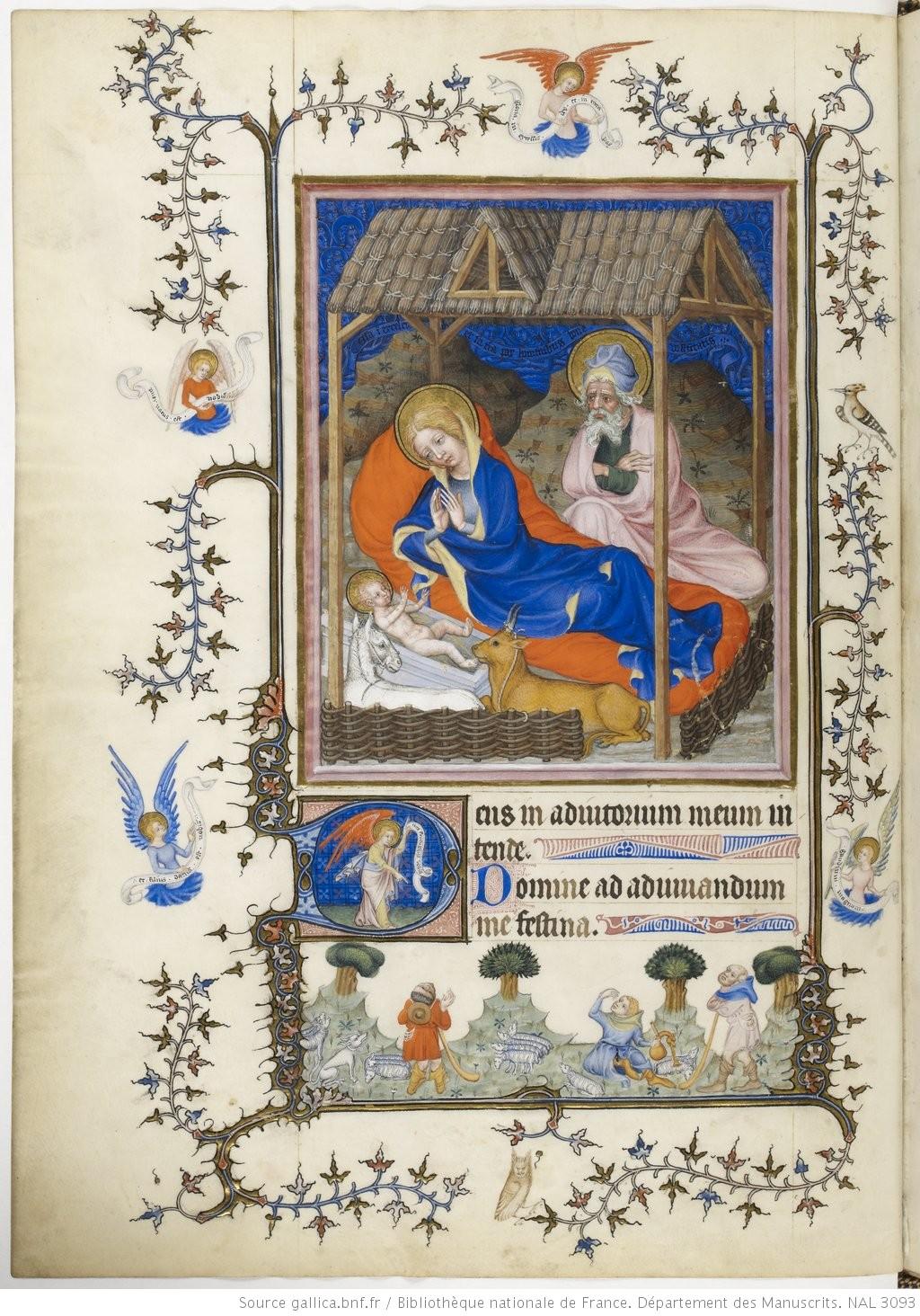 Nativite 1390-1410, Maitre du Parement de Narbonne, Tres Belles Heures de Notre-Dame, fol 41v. BNF n.a. lat. 3093 Gallica