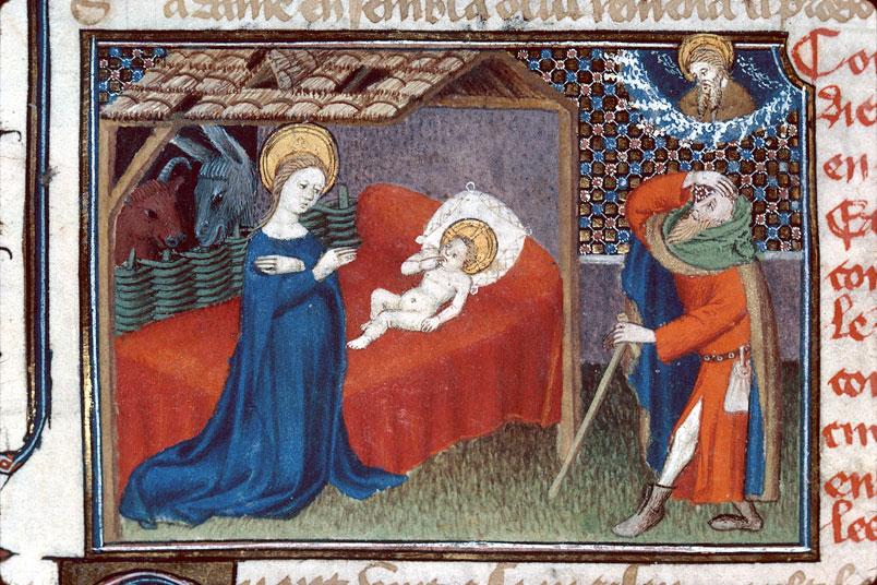 Nativite 1400-25 Maitre d'Egerton Roman de Dieu et de sa mere Besancon, BM, 0550 fol 63v jpg