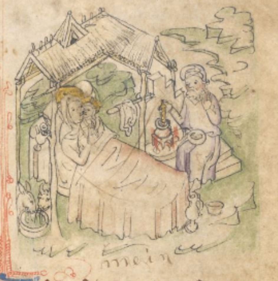 Nativite 1410 ca Speculum Humanae Salavationis BL Add MS 11575 fol 19r