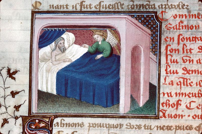 Songe de Gabaon, 1400-25 Maitre d'Egerton Roman de Dieu et de sa mere Besancon, BM, 0550 fol 44v