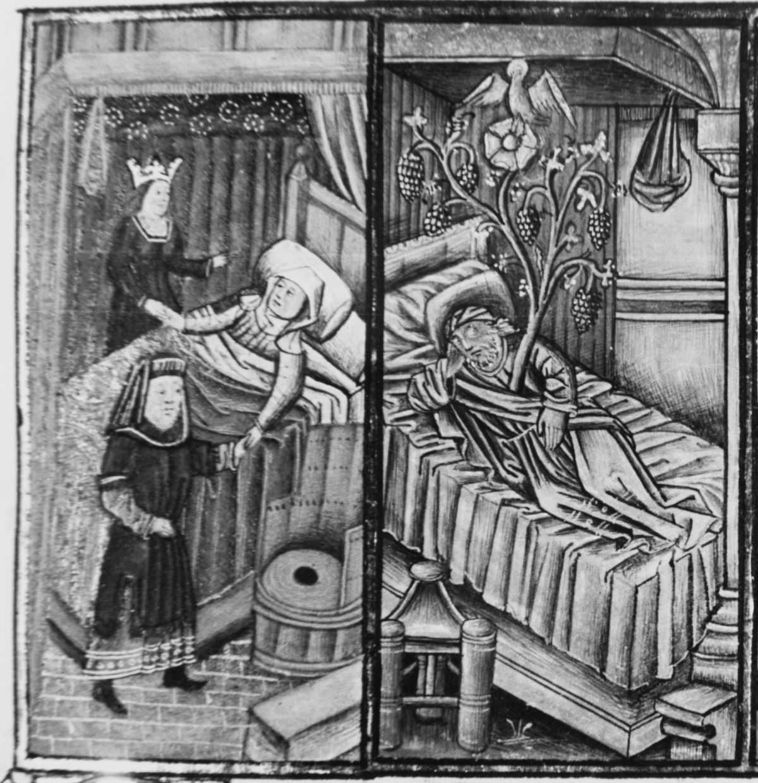 Speculum humanae salvationis 1454-55 Naissance de Marie Glasgow, University Library → Hunter 60 (T.2.18), fol. 6r