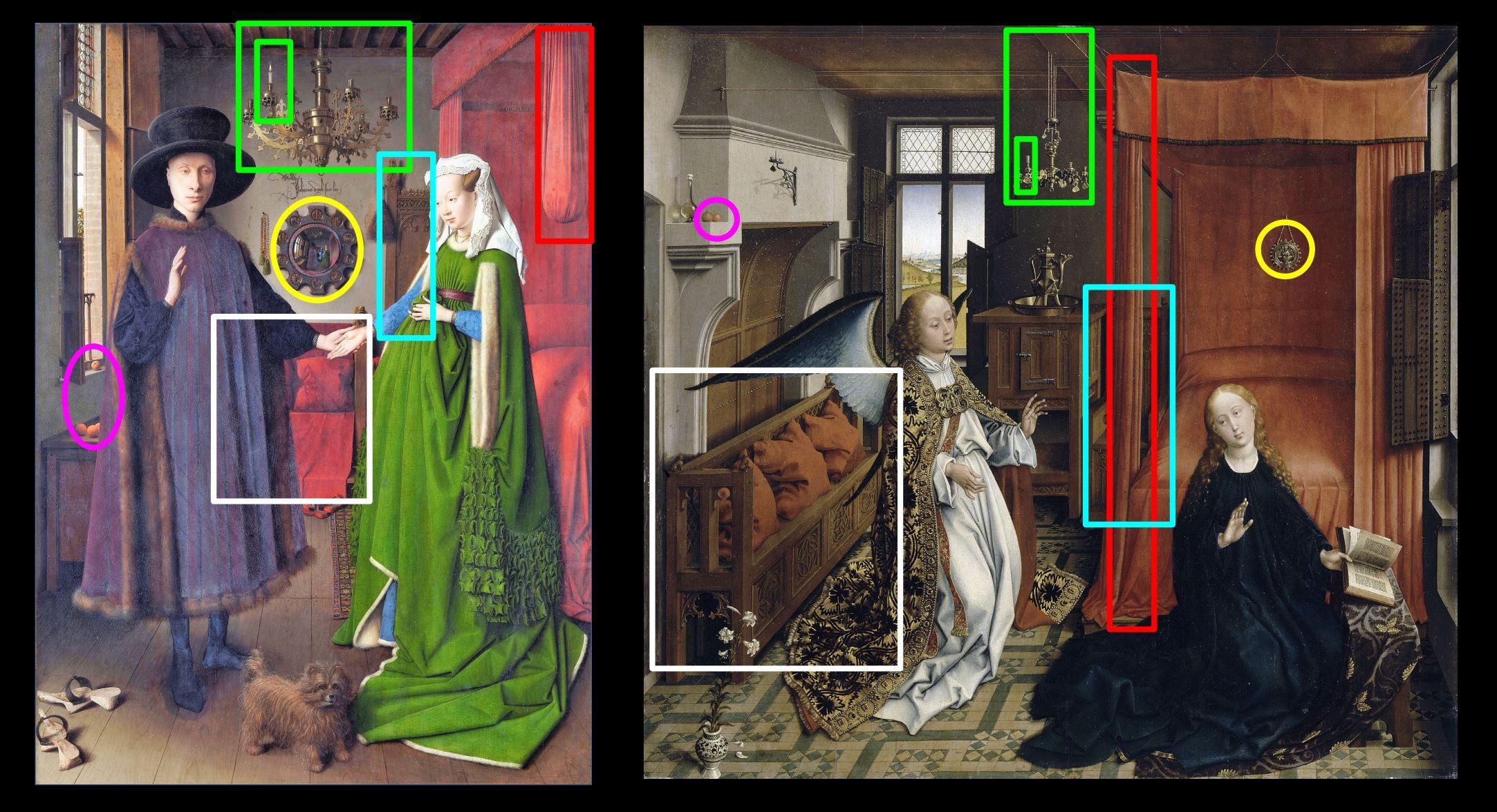 Van_Eyck 1434 _Arnolfini_Portrait comparaison Van der Weyden