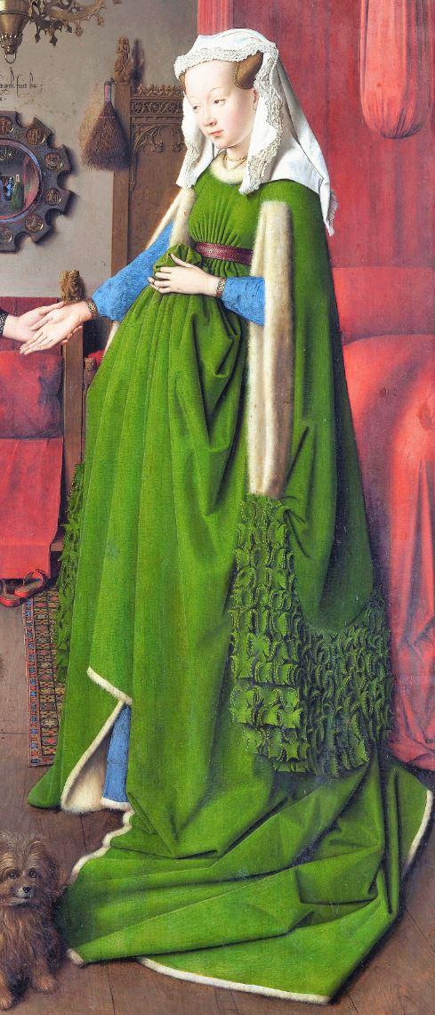Van_Eyck 1434 _Arnolfini_Portrait femme