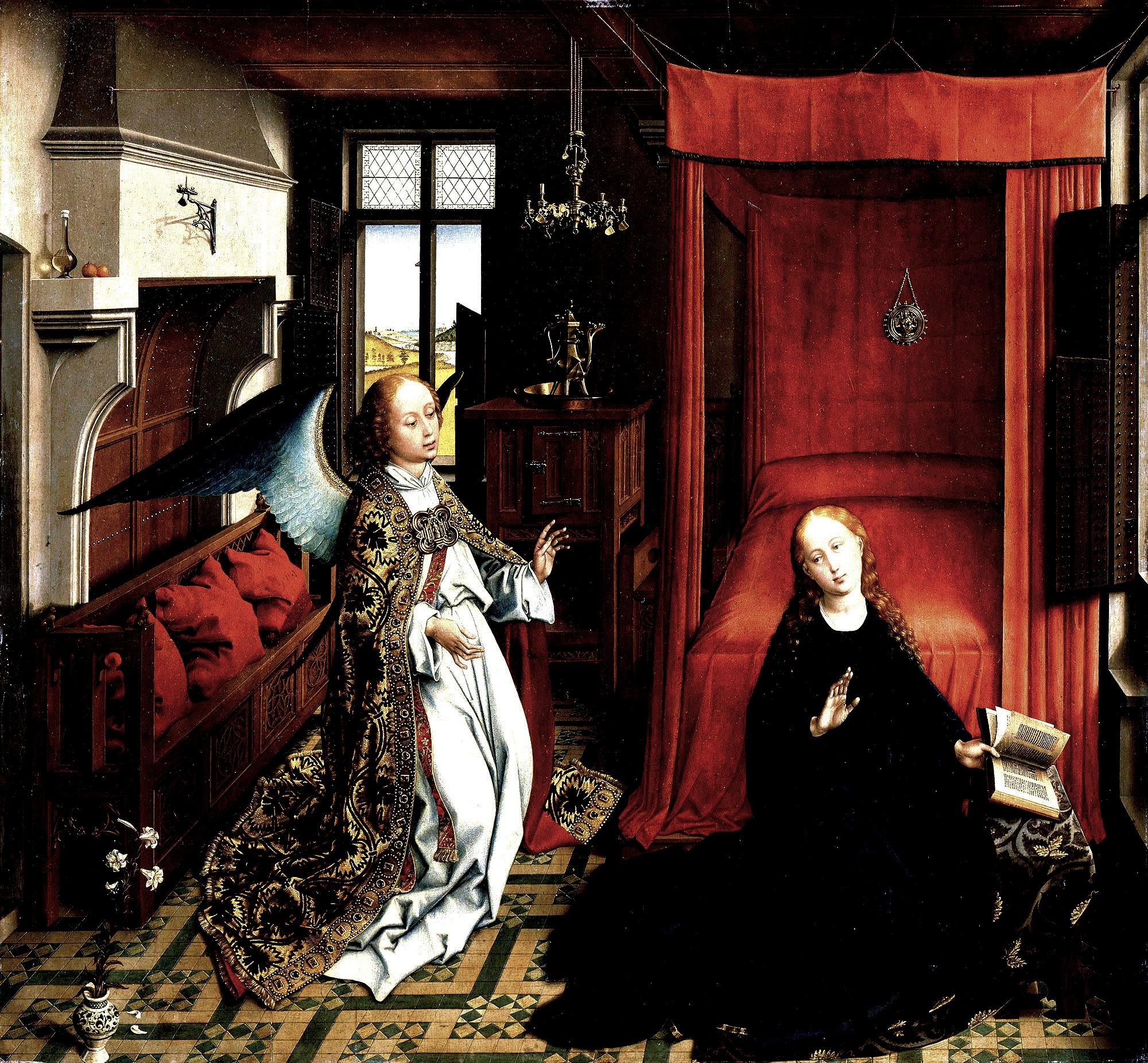 van der weyden 1434 ca annonciation Louvre contraste