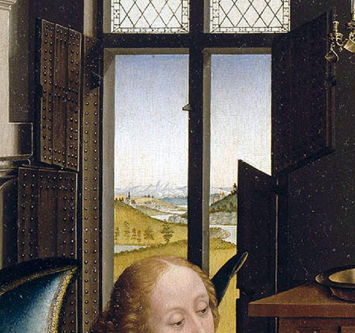 van der weyden 1434 ca annonciation Louvre detail volets