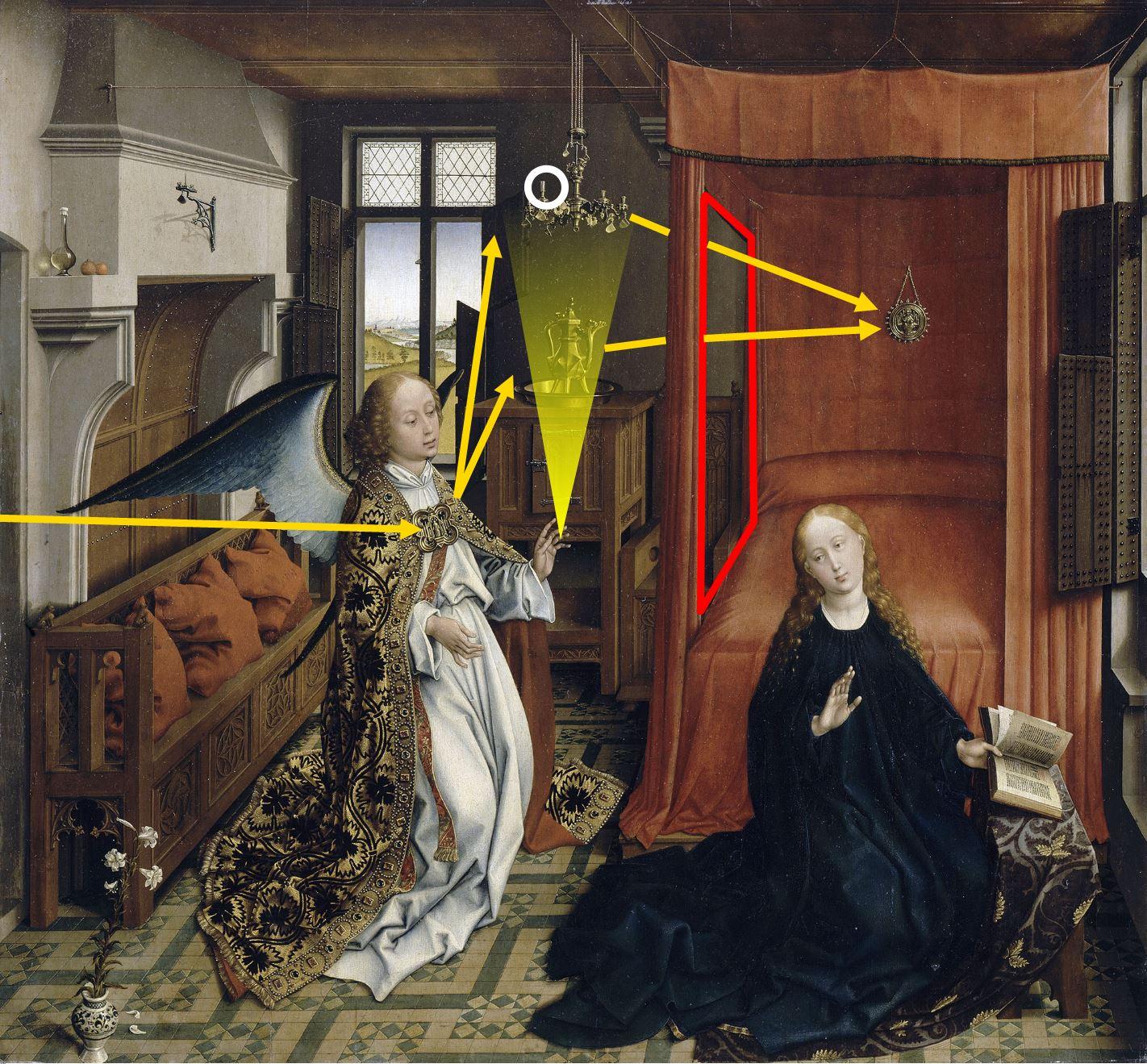 van der weyden 1434 ca annonciation Louvre schema Incarnation