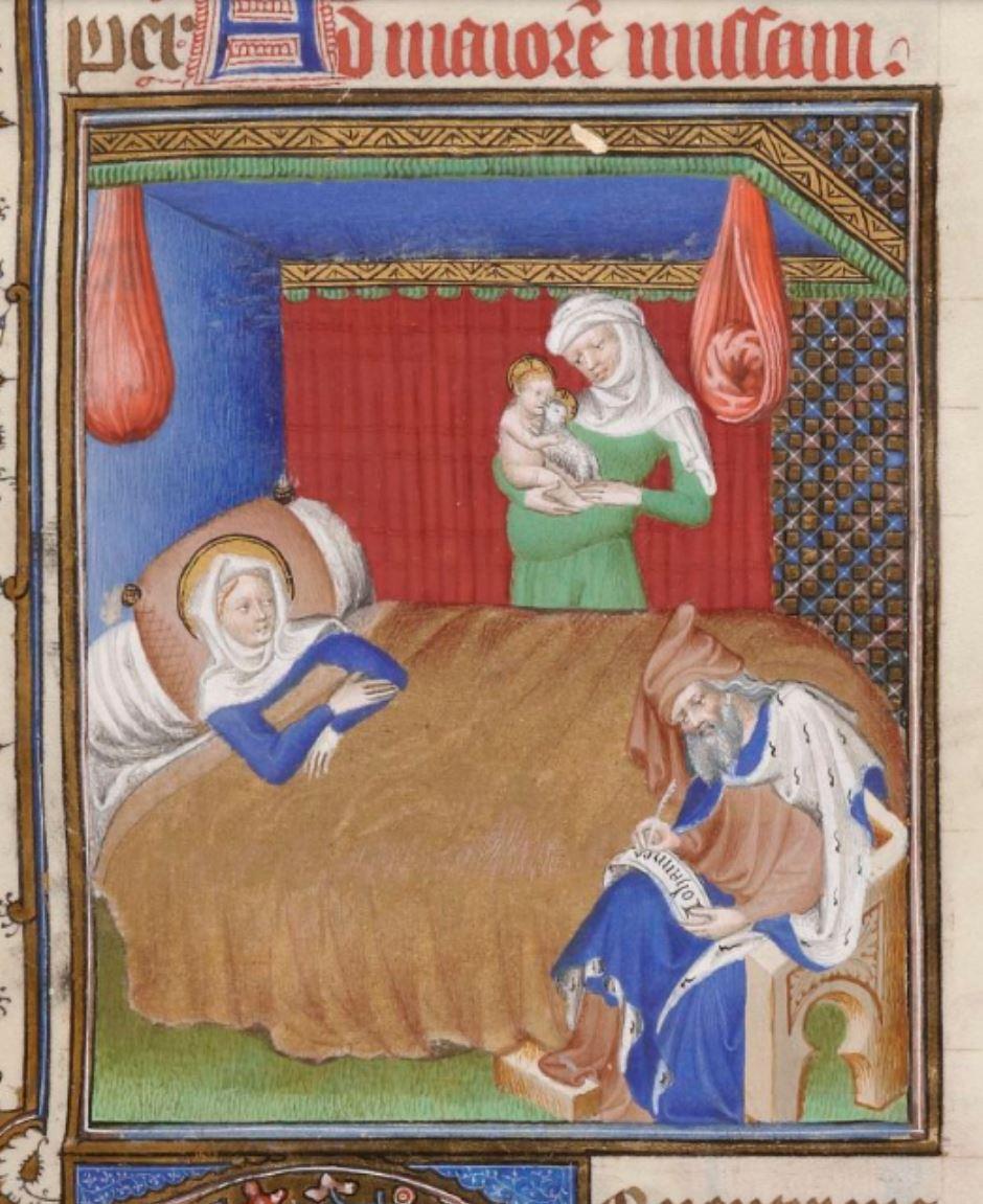 Missel de Jean du Berry 1400-25 Naissance de St Jean Baptiste BNF Lat 8886 fol 413