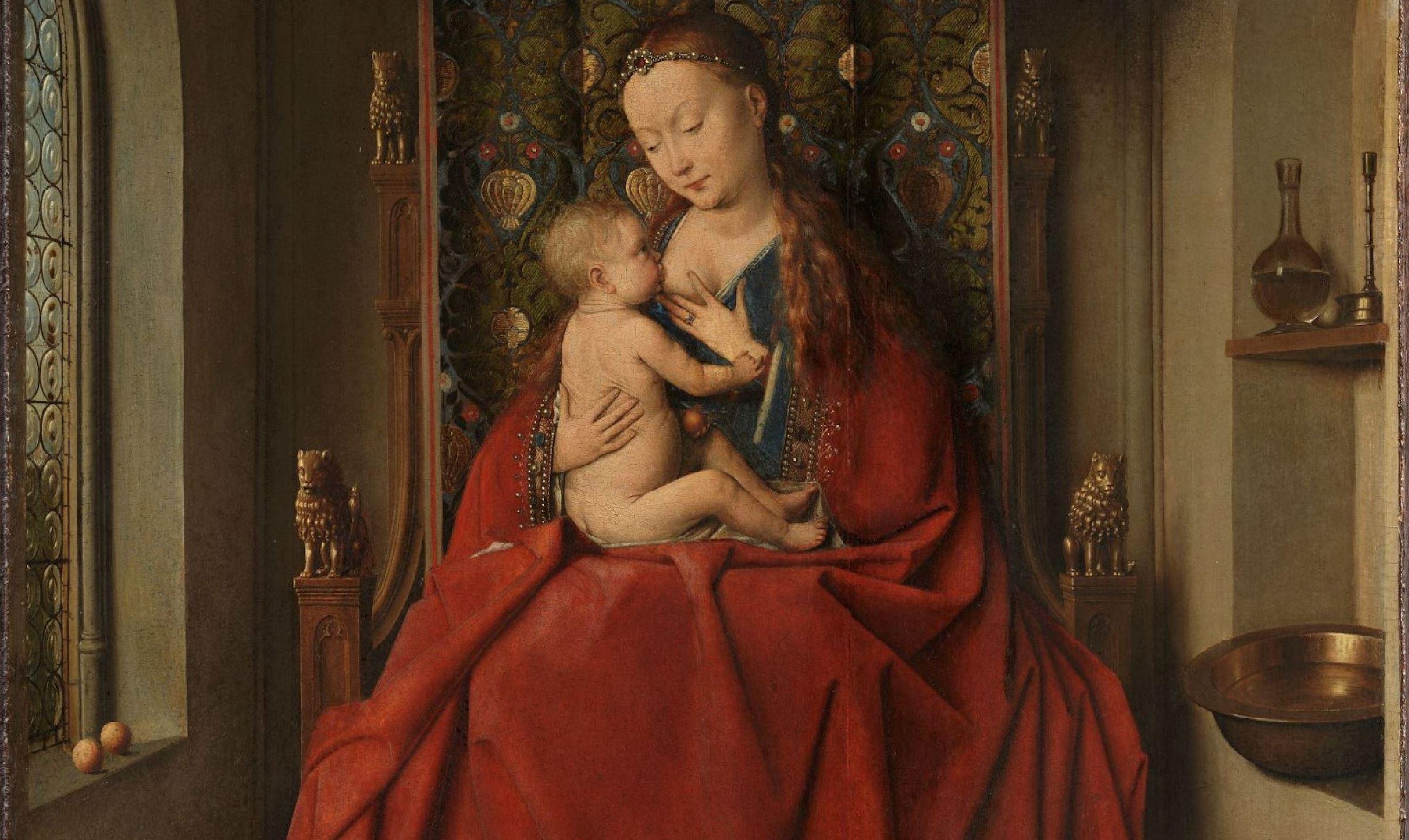 Van Eyck 1435-40 Vierge de Lucques detail Staedel Museum Francfort