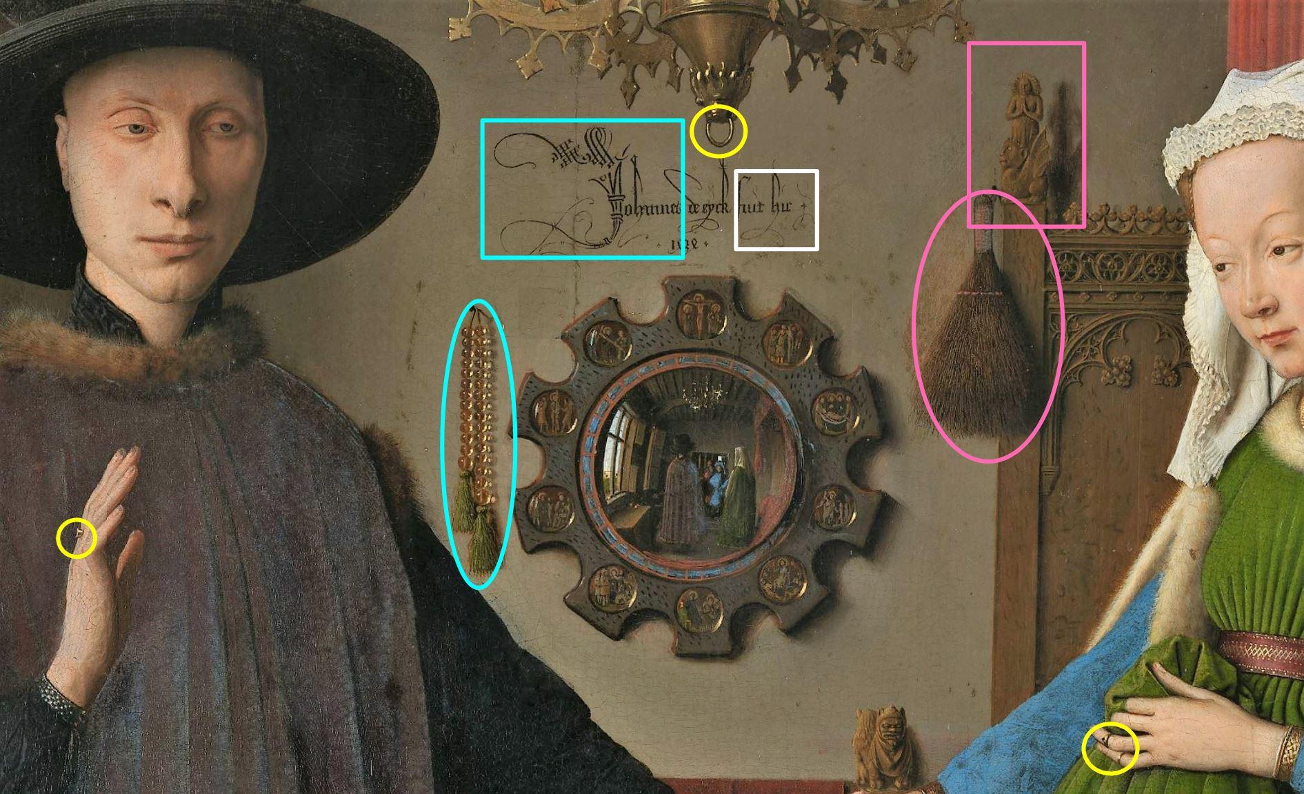 Van_Eyck 1434 _Arnolfini_Portrait blason